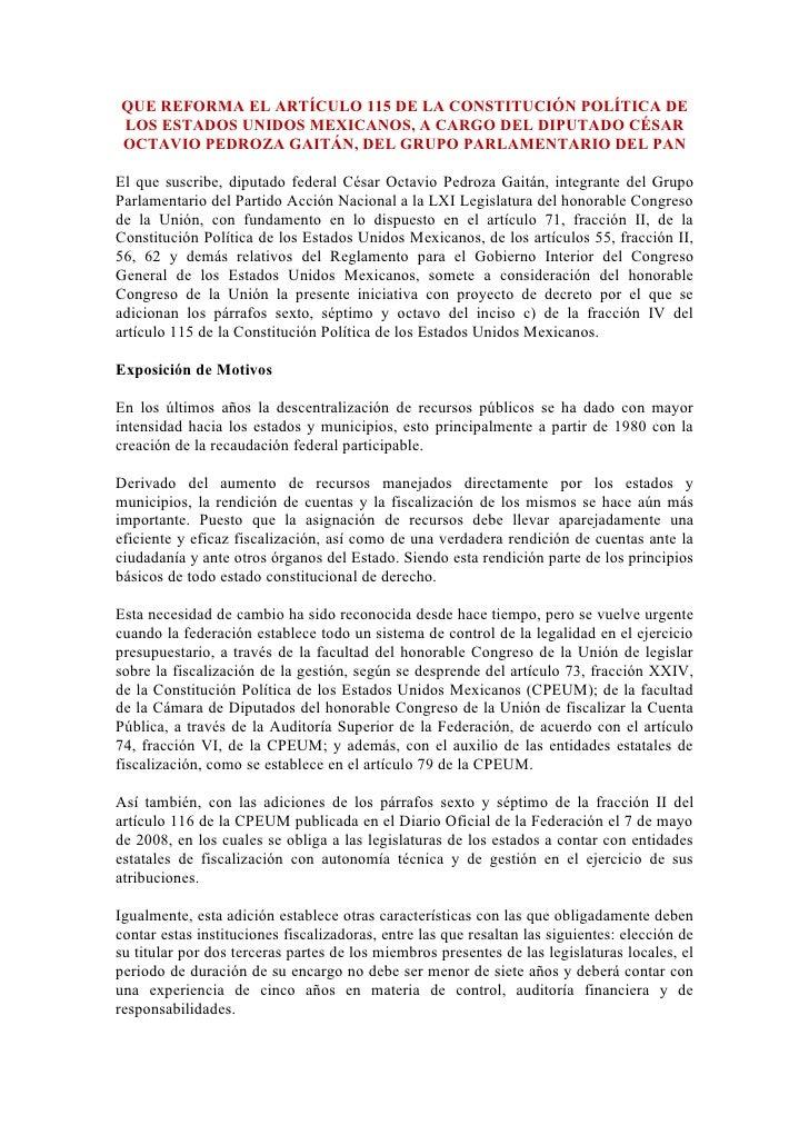 QUE REFORMA EL ARTÍCULO 115 DE LA CONSTITUCIÓN POLÍTICA DE LOS ESTADOS UNIDOS MEXICANOS, A CARGO DEL DIPUTADO CÉSAR OCTAVI...