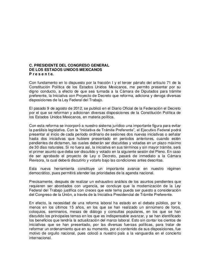 C. PRESIDENTE DEL CONGRESO GENERALDE LOS ESTADOS UNIDOS MEXICANOSP r e s e n t e.Con fundamento en lo dispuesto por la fra...