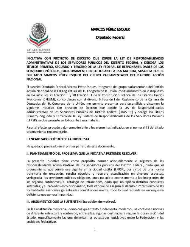 1INICIATIVA CON PROYECTO DE DECRETO QUE EXPIDE LA LEY DE RESPONSABILIDADESADMINISTRATIVAS DE LOS SERVIDORES PÚBLICOS DEL D...