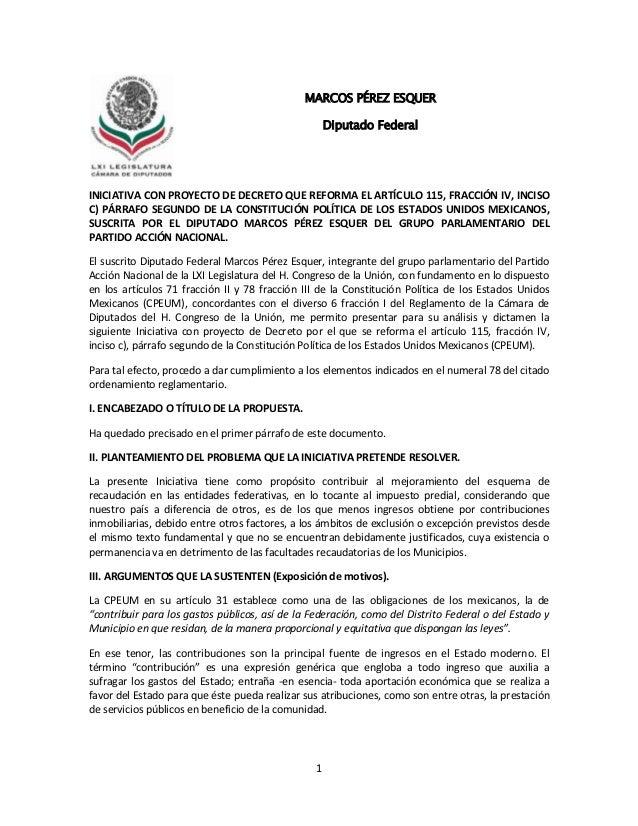 1INICIATIVA CON PROYECTO DE DECRETO QUE REFORMA EL ARTÍCULO 115, FRACCIÓN IV, INCISOC) PÁRRAFO SEGUNDO DE LA CONSTITUCIÓN ...
