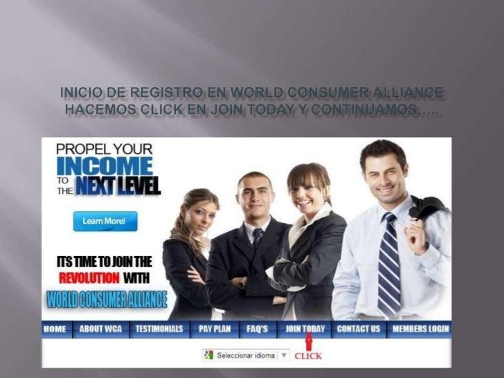 Inicio de registro en world consumer alliance