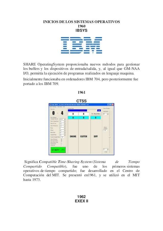 INICIOS DE LOS SISTEMAS OPERATIVOS 1960 IBSYS SHARE OperatingSystem proporcionaba nuevos métodos para gestionar los buffer...