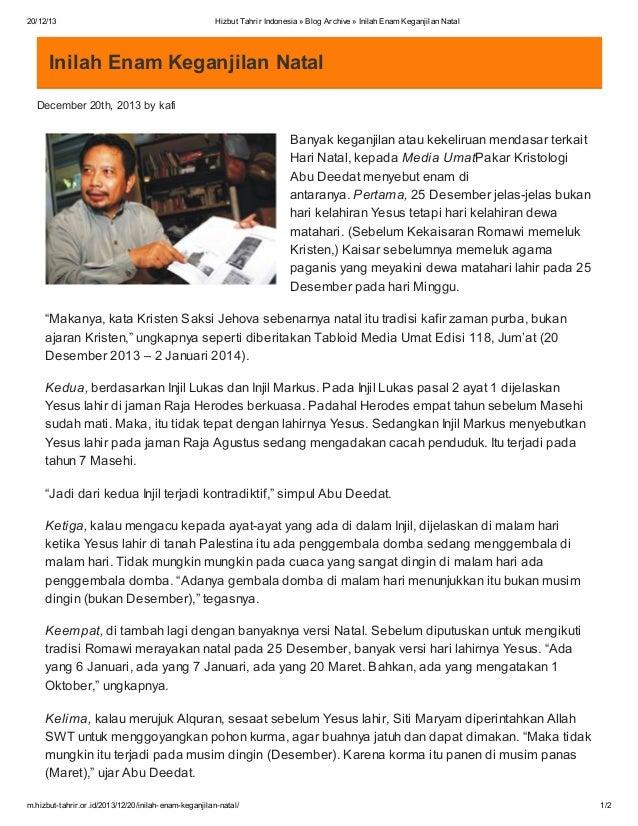 20/12/13  Hizbut Tahrir Indonesia » Blog Archive » Inilah Enam Keganjilan Natal  Inilah Enam Keganjilan Natal December 20t...