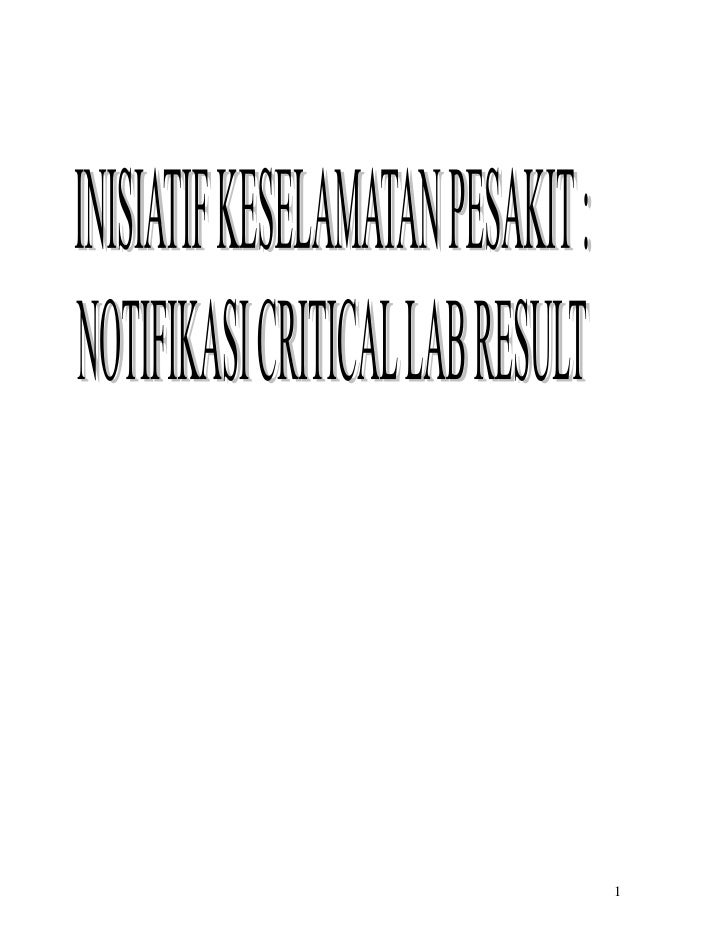 Inisiatif notifikasi critical lab result latest