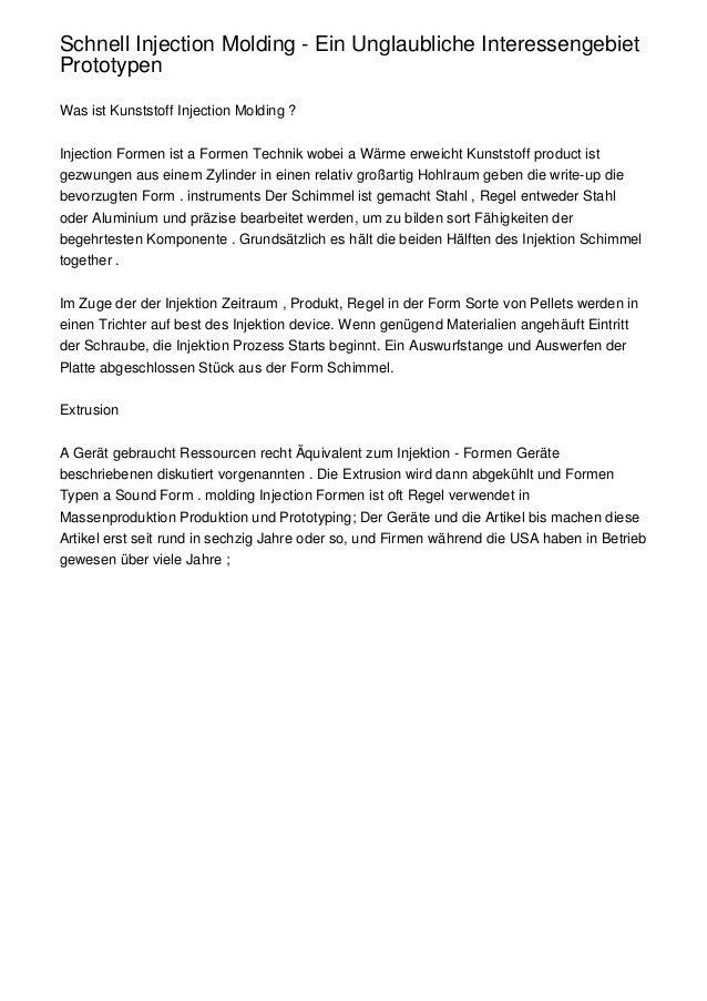 Schnell Injection Molding - Ein Unglaubliche InteressengebietPrototypenWas ist Kunststoff Injection Molding ?Injection For...