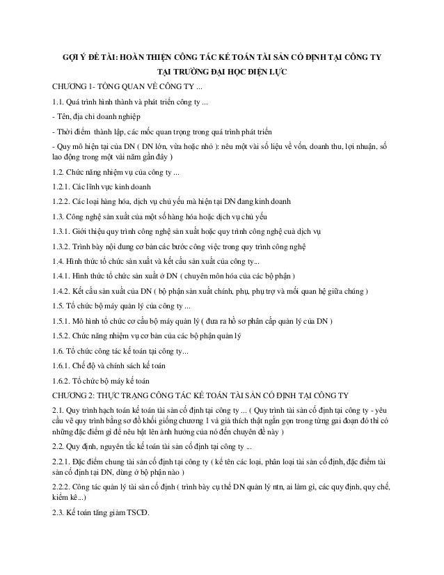 GỢI Ý ĐỀ TÀI: HOÀN THIỆN CÔNG TÁC KẾ TOÁN TÀI SẢN CỐ ĐỊNH TẠI CÔNG TY TẠI TRƯỜNG ĐẠI HỌC ĐIỆN LỰC CHƢƠNG 1- TỔNG QUAN VỀ C...