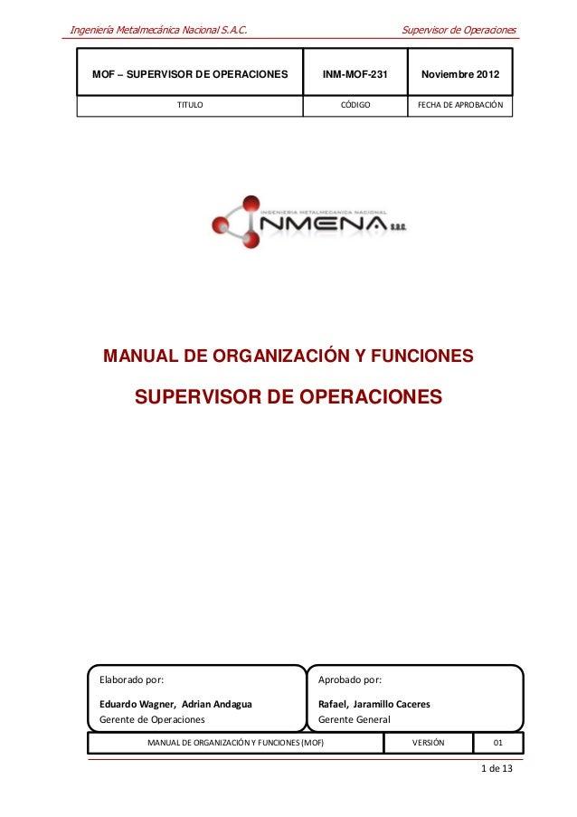 Ingeniería Metalmecánica Nacional S.A.C.                                 Supervisor de Operaciones     MOF – SUPERVISOR DE...
