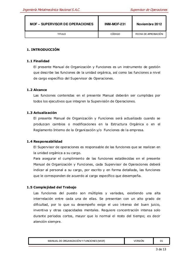 Inm mof 231 supervisor de operaciones for Manual de restaurante pdf
