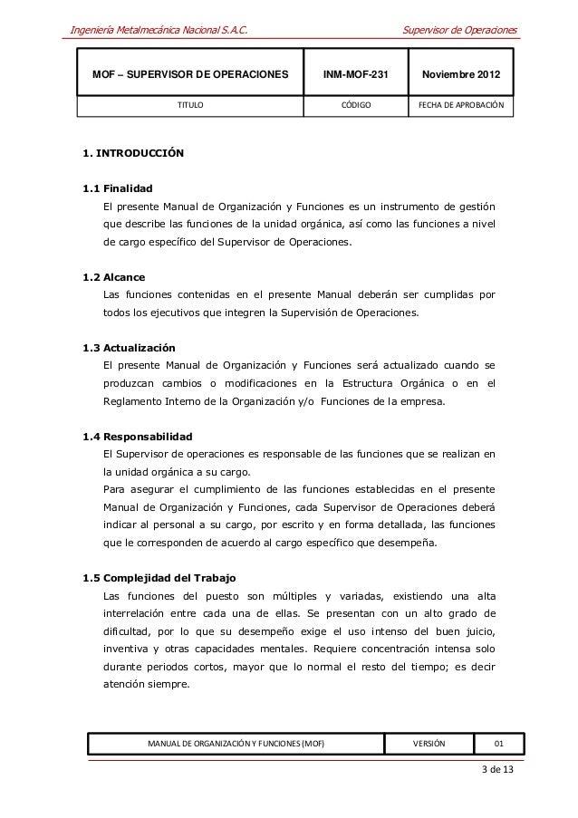 Inm mof 231 supervisor de operaciones for Manual de operaciones de un restaurante ejemplo