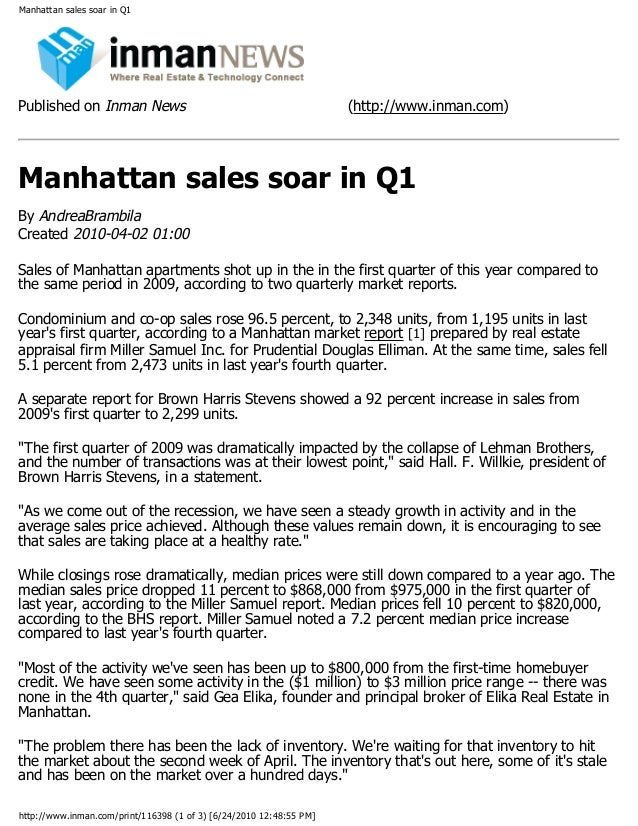 Manhattan sales soar in Q1 Published on Inman News (http://www.inman.com) Manhattan sales soar in Q1 By AndreaBrambila Cre...