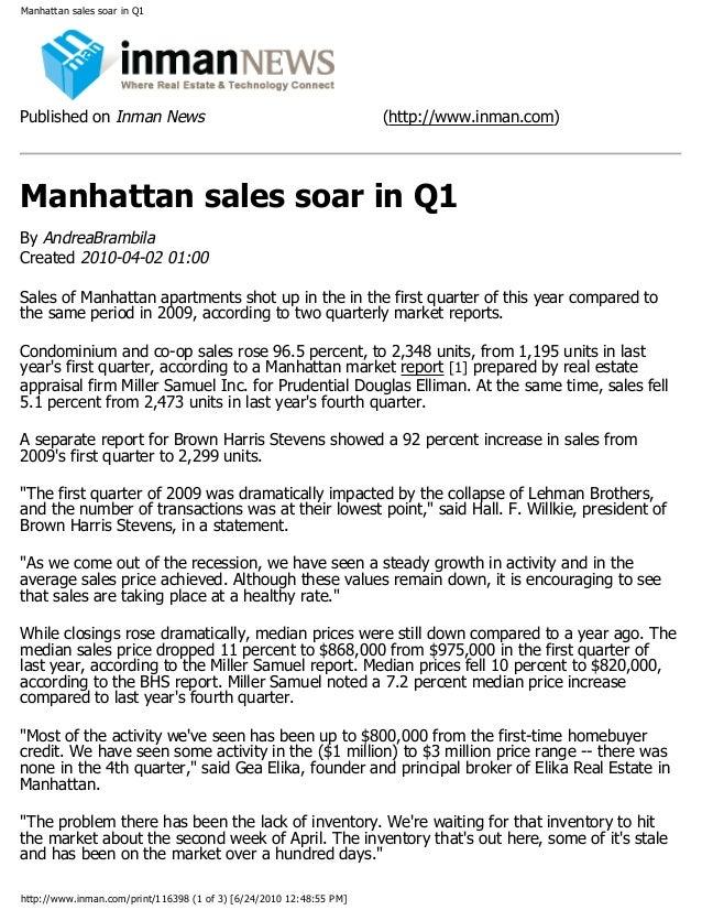 Inman  News  Manhattan Sales Soar In  Q1
