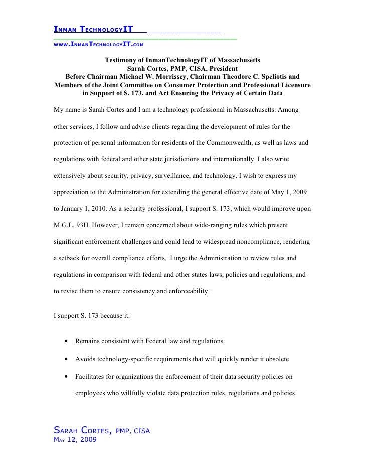 InmanTechnologyIT Mass Senate Testimony