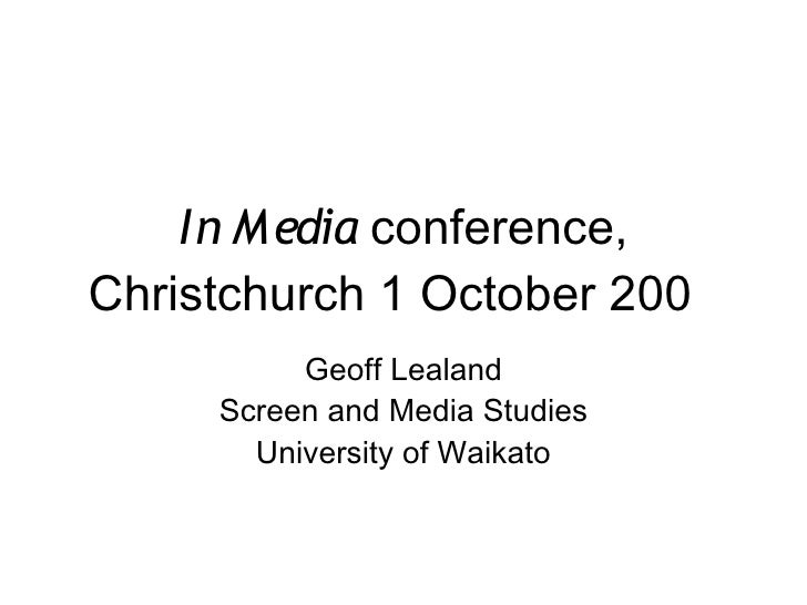 In Media conference,    Christchurch 1 October 2009           Click to edit Master subtitle style                         ...