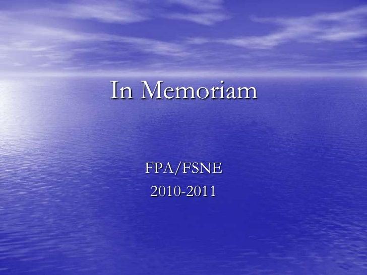In Memoriam 2011