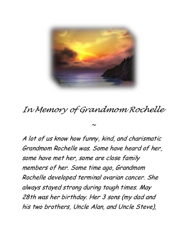 In memory of grandmom rochelle