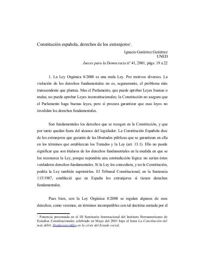 Constitución española, derechos de los extranjeros1.                                                         Ignacio Gutié...