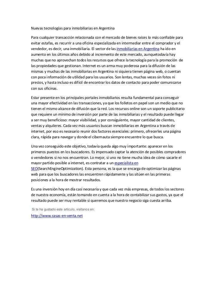 Nuevas tecnologías para inmobiliarias en Argentina<br />Para cualquier transacción relacionada con el mercado de bienes ra...