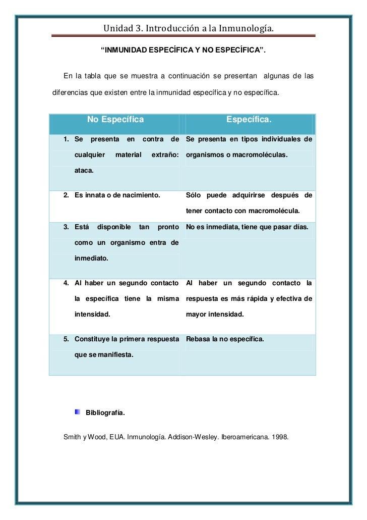 """Unidad 3. Introducción a la Inmunología.                """"INMUNIDAD ESPECÍFICA Y NO ESPECÍFICA"""".   En la tabla que se muest..."""