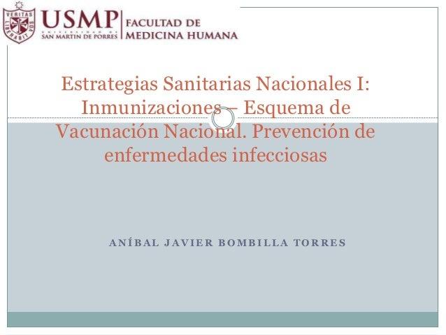Estrategias Sanitarias Nacionales I:  Inmunizaciones – Esquema deVacunación Nacional. Prevención de     enfermedades infec...