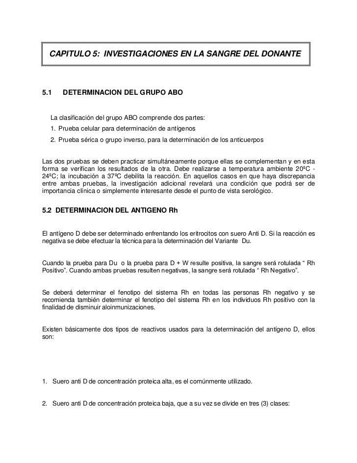 CAPITULO 5: INVESTIGACIONES EN LA SANGRE DEL DONANTE5.1    DETERMINACION DEL GRUPO ABO   La clasificación del grupo ABO co...