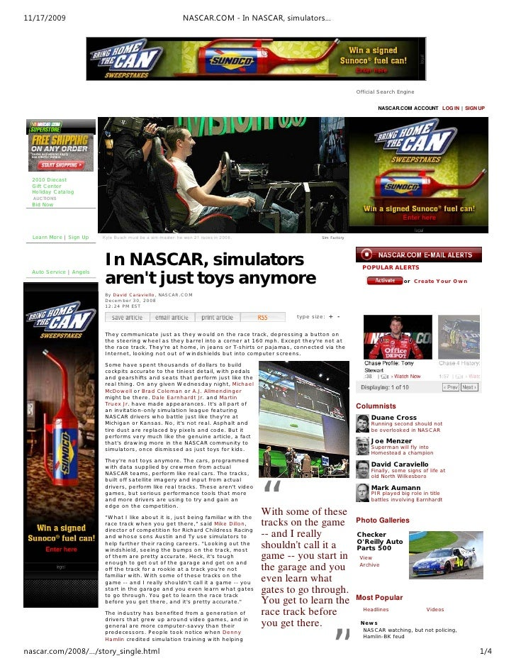 11/17/2009                                                   NASCAR.COM - In NASCAR, simulators…                          ...