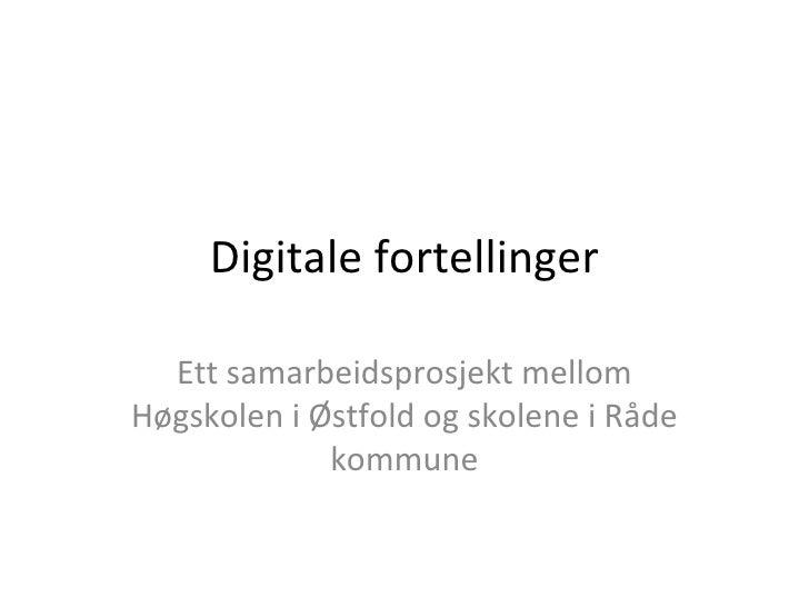 Presentasjon av nettbasert studium i Digitale fortellinger