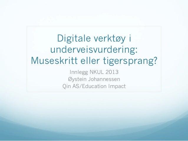 Digitale verktøy iunderveisvurdering:Museskritt eller tigersprang?Innlegg NKUL 2013Øystein JohannessenQin AS/Education Imp...