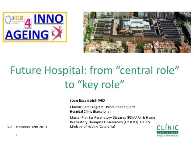"Future Hospital: from ""central role"" to ""key role"" Joan Escarrabill MD Chronic Care Program– Barcelona Esquerra. Hospital ..."