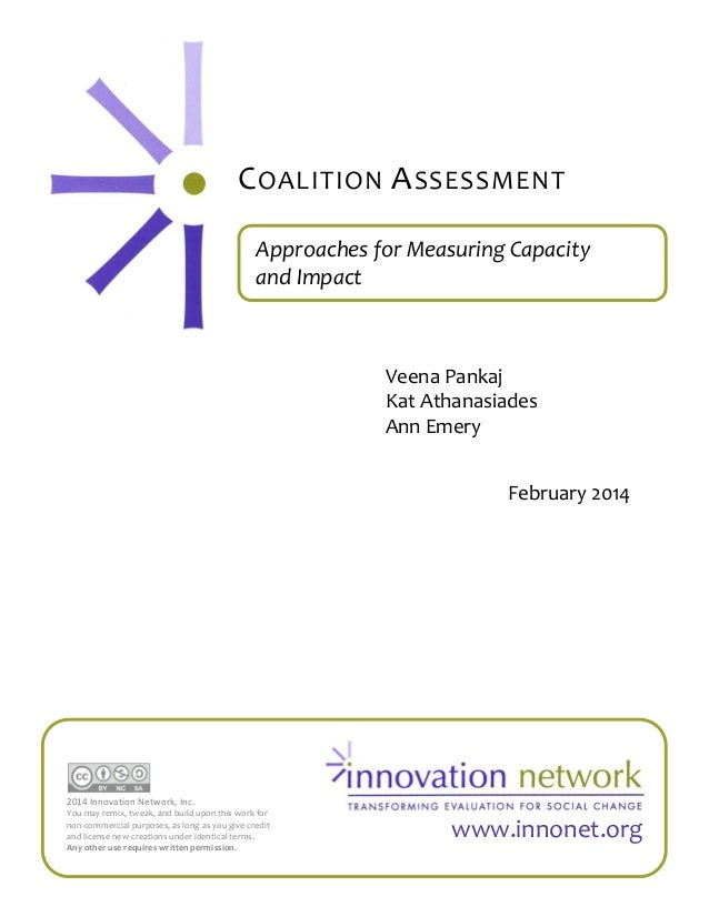 C OALITION A SSESSMENT Approaches for Measuring Capacity and Impact  Veena Pankaj Kat Athanasiades Ann Emery February 2014...