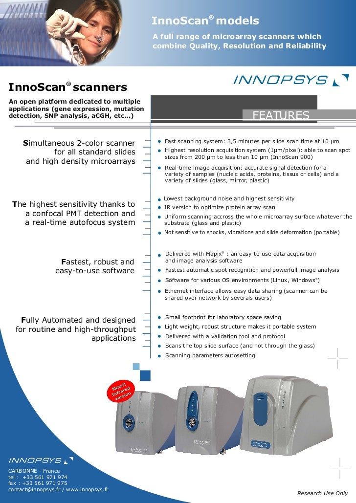 Innoscan microarray Scanner with 785 nm Infra-red option
