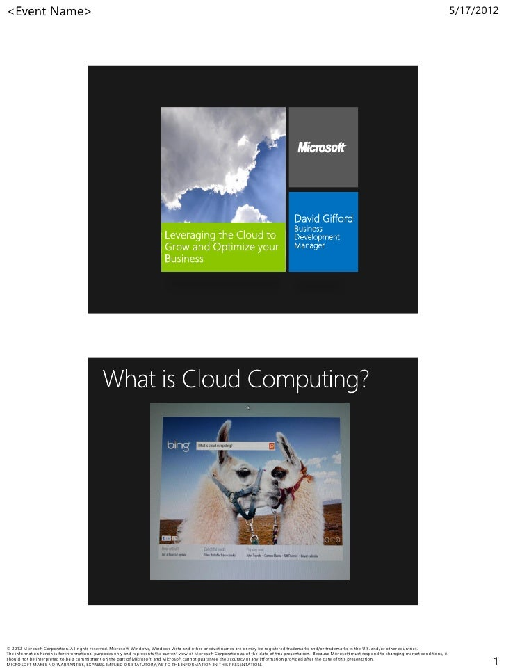 Opening Keynote: Leveraging the Cloud to Grow and Optimize Your Business