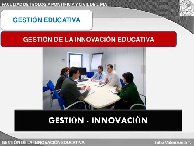 GESTIÓN EDUCATIVA  GESTIÓN DE LA INNOVACIÓN EDUCATIVA  GESTIÓN - INNOVACIÓN