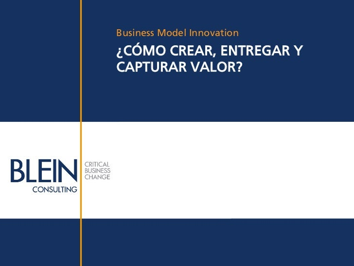 Business Model Innovation¿CÓMO CREAR, ENTREGAR YCAPTURAR VALOR?