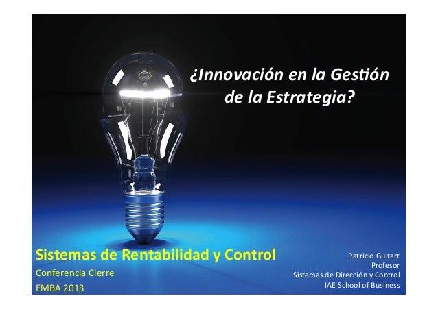 ¿Innovación en la Gestión de la Estrategia?