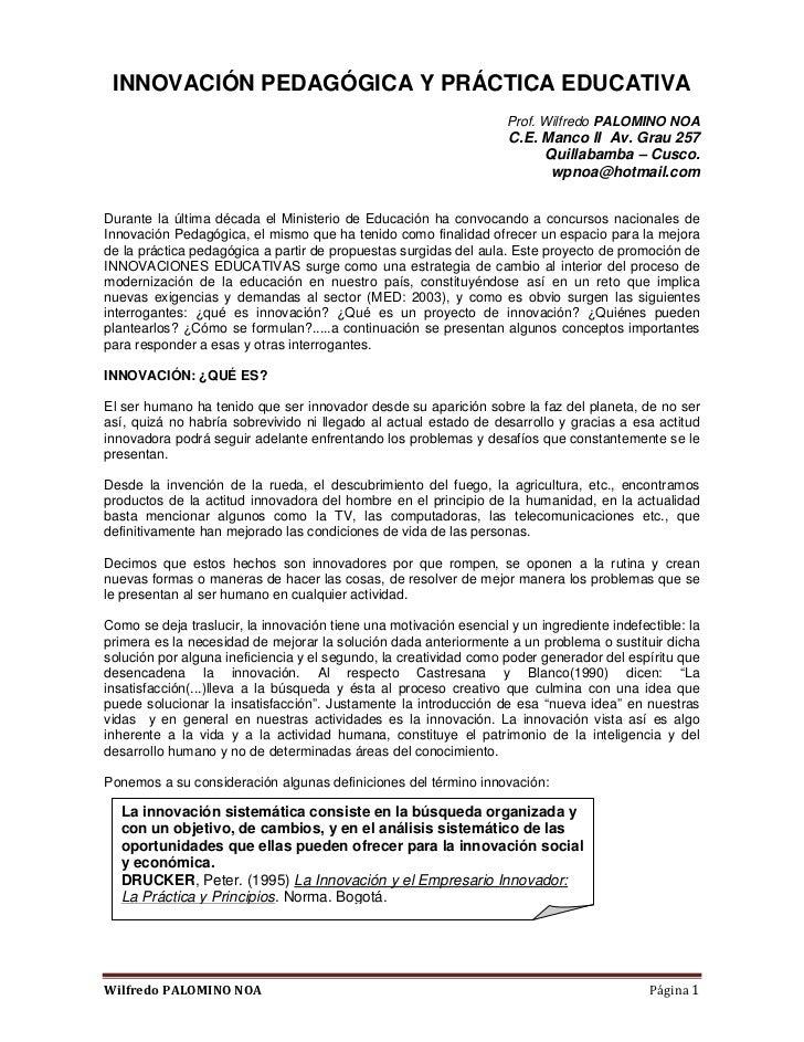INNOVACIÓN PEDAGÓGICA Y PRÁCTICA EDUCATIVA                                                                    Prof. Wilfre...