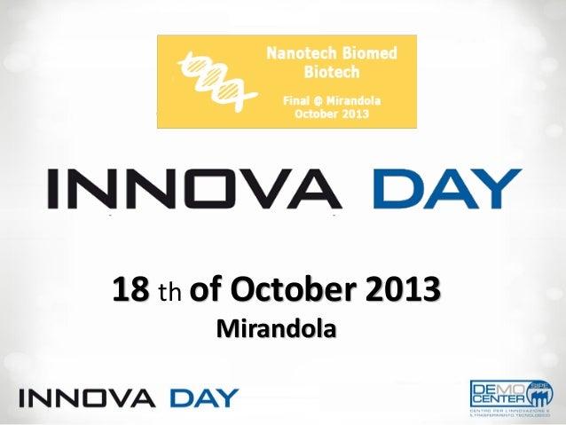 Innova day 5^ ed   Nanotech - Biomed - Biotech 18 Oct. 2013