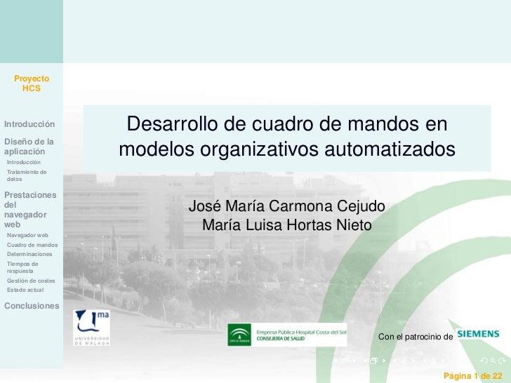 Proyecto    HCSIntroducción        Desarrollo de cuadro de mandos enDiseño de laaplicaciónIntroducción                    ...