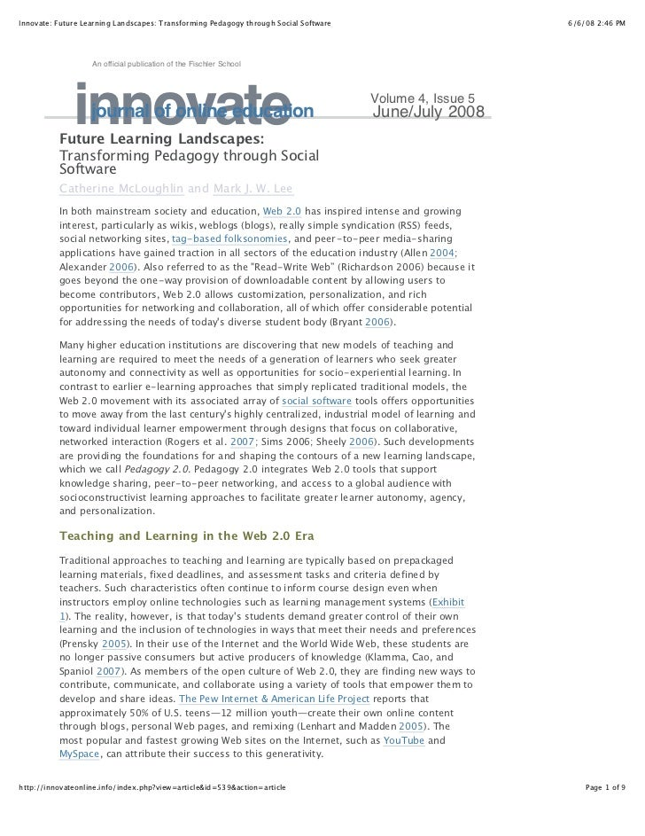 Innovate: Future Learning Landscapes: Transforming Pedagogy through Social Software                       6/6/08 2:46 PM  ...