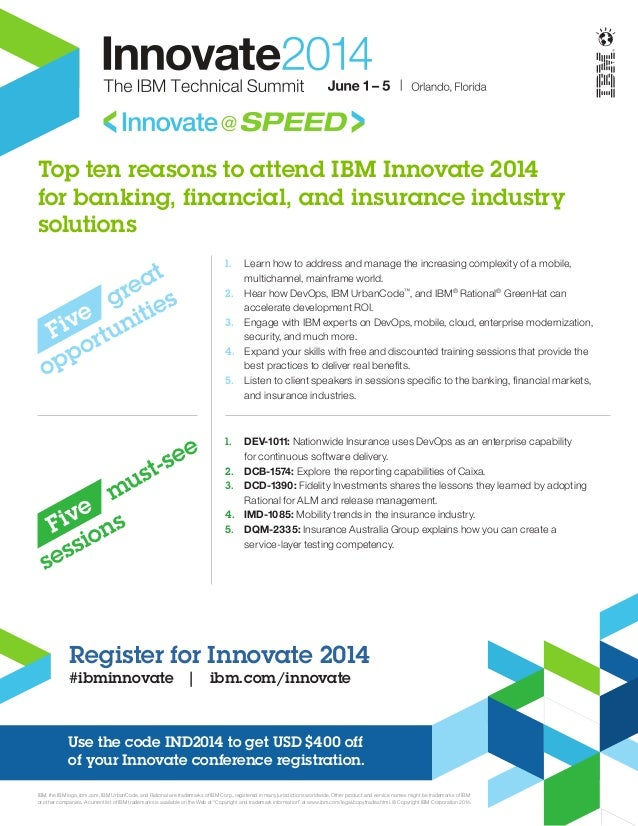 Top ten reasons to attend IBM Innovate 2014 for banking, financial, and insurance industry solutions