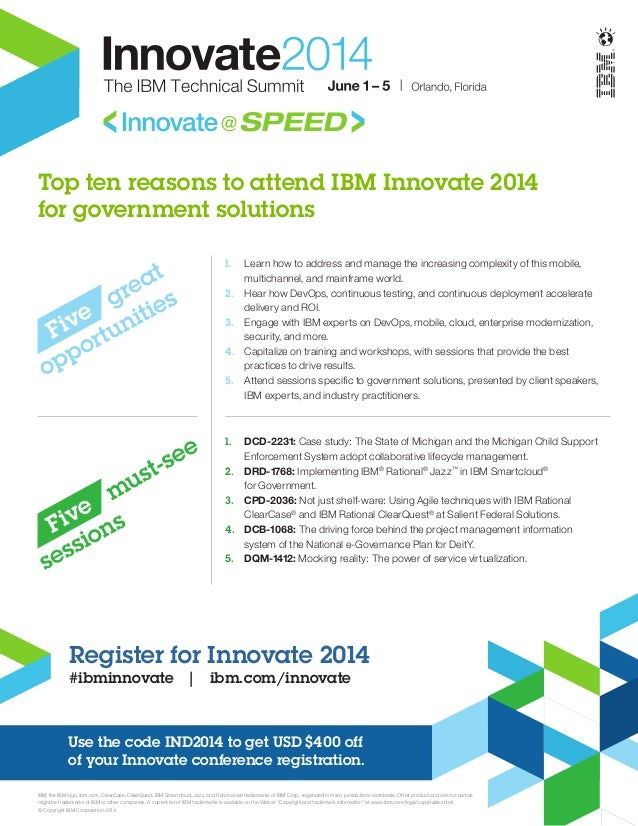 Top ten reasons to attend IBM Innovate 2014 for government solutions