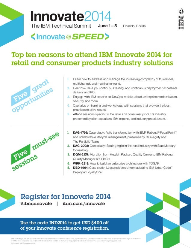 Top ten reasons to attend IBM Innovate 2014 for retail and consumer products industry solutions
