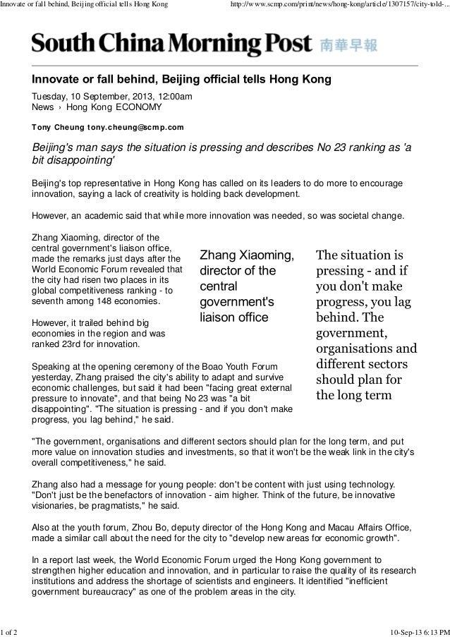 News › Hong Kong Tuesday, 10 September, 2013, 12:00am ECONOMY Tony Cheung tony.cheung@scmp.com Beijing's man says the situ...