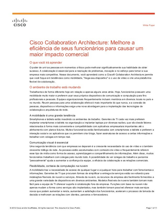 © 2012 Cisco and/or its affiliates. All rights reserved. This document is Cisco Public. Page 1 of 11White PaperCisco Colla...