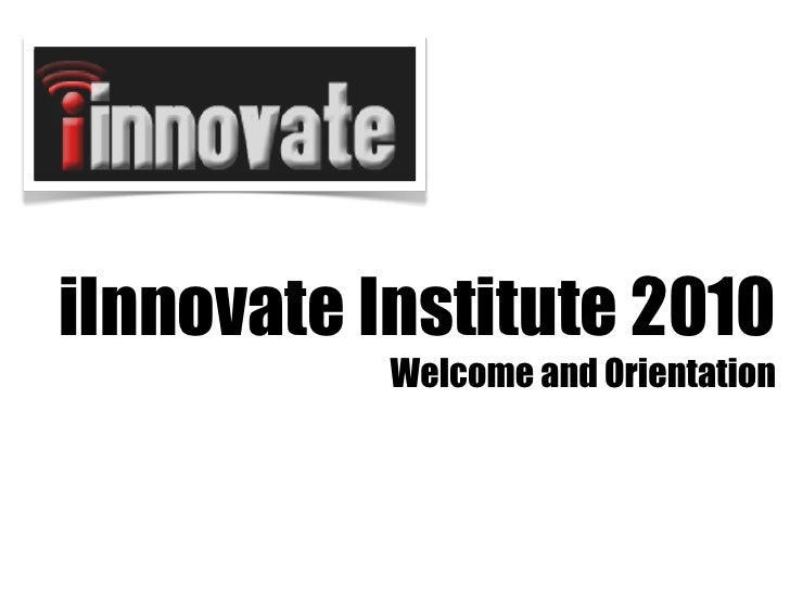 Innovate welcome 2010
