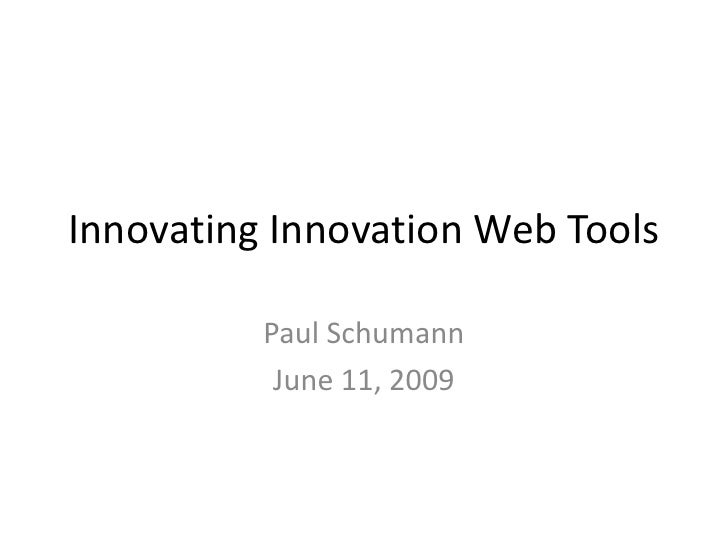 Innovating Innovation Web Tools