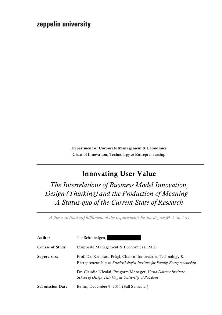 Innovating User Value: The Interrelations of Business Model Innovation, Design (Thinking) and the Production of Meaning