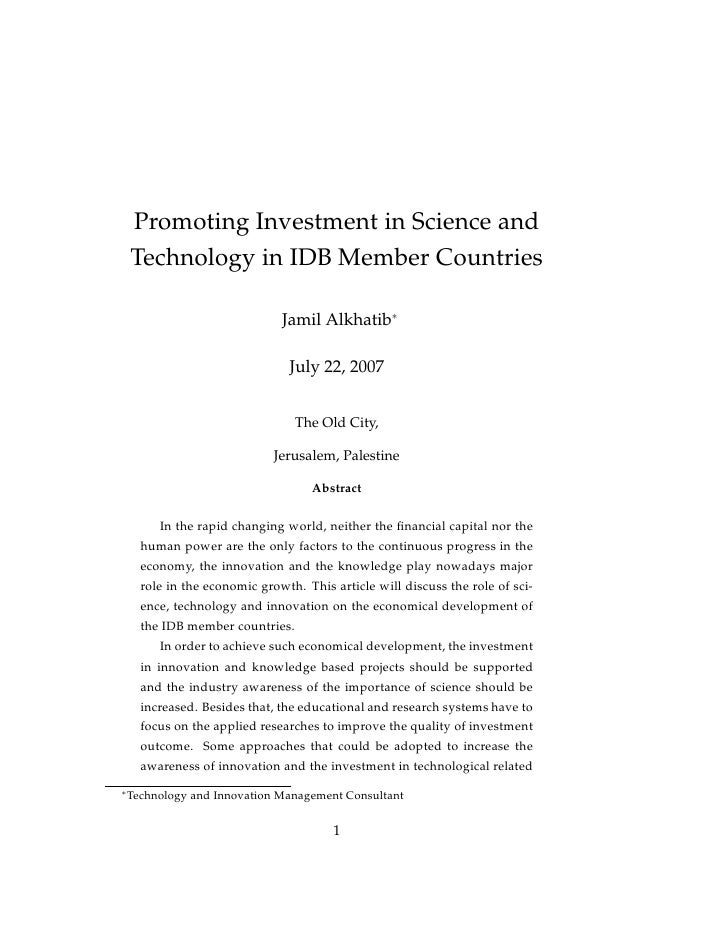 Promoting Investment in Science and     Technology in IDB Member Countries                                 Jamil Alkhatib∗...