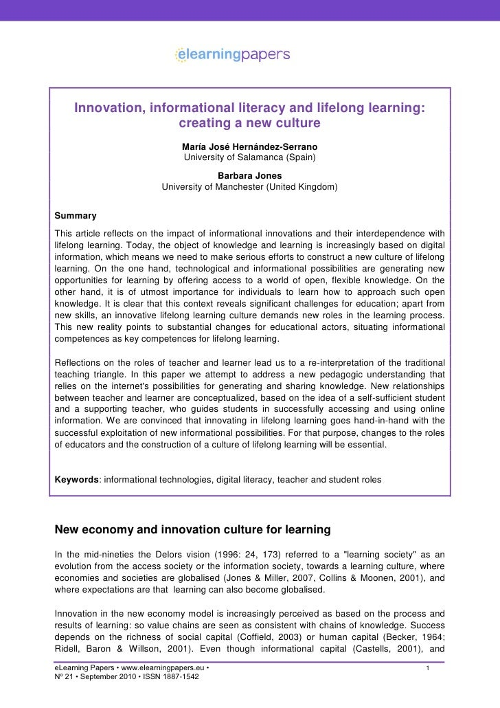 Innovation, informational literacy and lifelong learning:                       creating a new culture                    ...