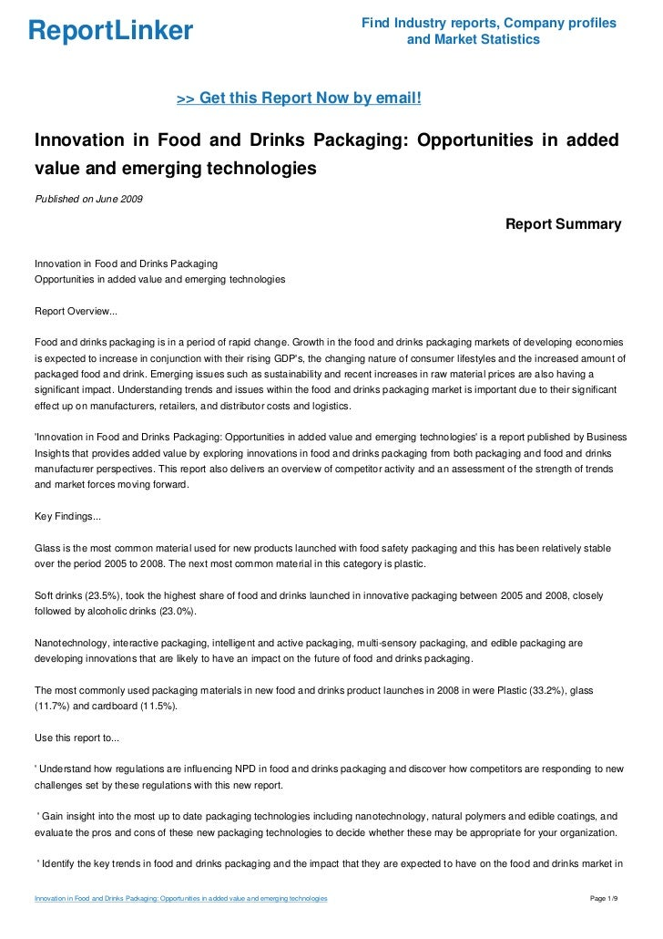 Innovation in Food and Drinks Packaging: Opportunities in added value and emerging technologies