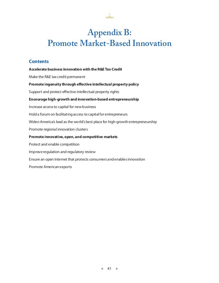 A Strategy for American Innovation - Appendix B: Promote Market-Based Innovation